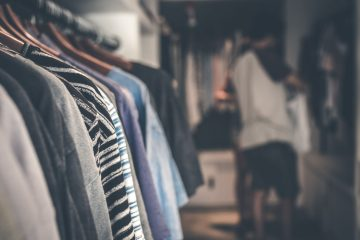 Retail clothes on a rack